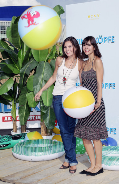 'Grown Ups' - Germany Premiere [grown ups,balloon,party supply,yellow,leg,fun,ball,leisure,party,thigh,beach bbq,actresses,susan hoecke,nadine warmuth,l-r,germany,o2 world,berlin,premiere]
