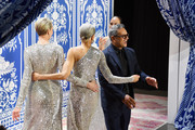 Designer Naeem Khan greets the audience at the Naeem Khan show during New York Fashion Week: The Shows at Gallery I at Spring Studios on February 12, 2019 in New York City.