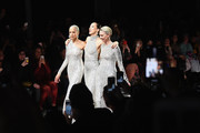 (L-R) Models Alva Chinn, Pat Cleveland and Karen Bjornson walk the runway at the Naeem Khan show during New York Fashion Week: The Shows at Gallery I at Spring Studios on February 12, 2019 in New York City.