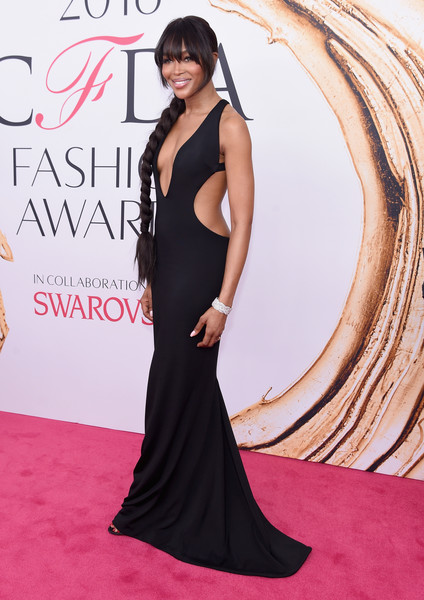2016 CFDA Fashion Awards - Arrivals [red carpet,clothing,dress,shoulder,carpet,gown,fashion model,premiere,hairstyle,flooring,arrivals,naomi campbell,hammerstein ballroom,new york city,cfda fashion awards]