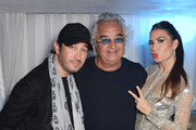 (L to R) Sheikh Mohammed Youseef El Khereiji, Flavio Briatore and Elisabetta Gregoraci attend Naomi Campbell's birthday party for #BringBackOurGirls at the Billionaire Club Sunset Lounge on May 23, 2014 in Monaco, Monaco.