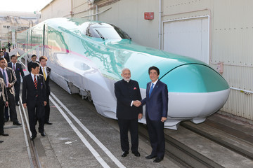 Narendra Modi Indian Prime Minister Narendra Modi and Japanese Prime Minister Shinzo Abe Visit Bullet Train Factory