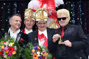 Comedian Joerg Knoer, Narrhalla chairman Guenther Grauer and singer Heino (Heinz Georg Kramm) attend the 'Narrhalla Soiree 2015 at Deutsches Theater on January 30, 2015 in Munich, Germany.