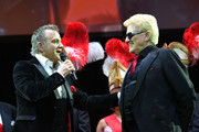 Singer Heino (Heinz Georg Kramm) and comedian Joerg Knoer (L) attend the 'Narrhalla Soiree 2015 at Deutsches Theater on January 30, 2015 in Munich, Germany.