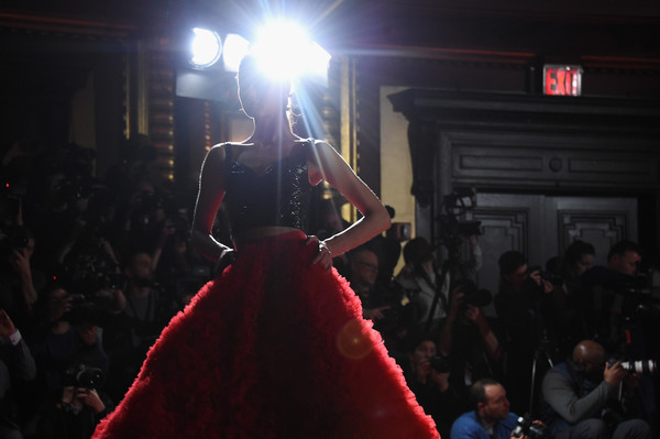 Christian Siriano - Runway - February 2018 - New York Fashion Week [christian siriano,model,red,crowd,light,fashion,performance,event,night,audience,stage,performance art,new york fashion week,fashion show,runway,new york city,grand lodge]