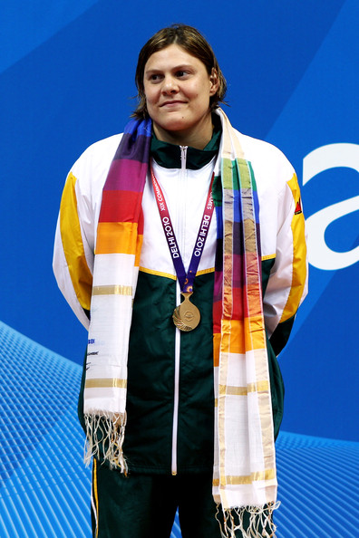 Natalie Du Toit Natalie Du Toit of South Africa poses with the gold medal during the medal ceremony for the Women's 50m Freestyle S9 Final at the Dr. S.P. Mukherjee Swimming Complex during day two of the Delhi 2010 Commonwealth Games on October 5, 2010 in Delhi, India.