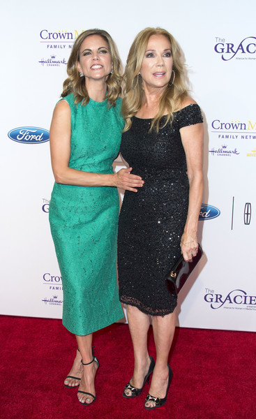 41st Annual Gracie Awards Gala - Arrivals [clothing,dress,cocktail dress,green,carpet,fashion,premiere,red carpet,footwear,shoulder,arrivals,tv personalities,natalie morales,kathie lee gifford,valerie macon,beverly hills,l,afp,annual gracie awards gala,annual gracies awards gala]