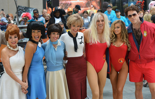 'Today' Hosts Dress Up for Halloween [event,youth,crowd,dress,recreation,team,costume,competition,kathie lee gifford,savannah guthrie,matt lauer,hoda kotb,natalie morales,willie geist,carmen electra,l-r,rockefeller plaza,nbc]