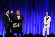 Benny Safdie, Josh Safdie, and  Ronald Bronstein accept the award for Best Original Screenplay for Uncut Gems onstage from Timothée Chalamet during attends The National Board of Review Annual Awards Gala at Cipriani 42nd Street on January 08, 2020 in New York City.
