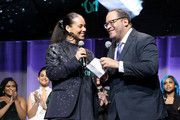 Alicia Keys and Dr. Michael Eric Dyson speak onstage during the National CARES Mentoring Movement 4th Annual For The Love Of Our Children Gala at The Ziegfeld Ballroom on February 11, 2019 in New York City.