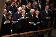 (L-R) Former U.S. President George W. Bush, Laura Bush, Former U.S. President Bill Clinton, former Secretary of State Hillary Clinton, former U.S. Vice President Dick Cheney, Lynne Cheney, and former U.S. Vice President Al Gore attend the funeral service for U.S. Sen. John McCain at the National Cathedral on September 1, 2018 in Washington, DC. The late senator died August 25 at the age of 81 after a long battle with brain cancer. McCain will be buried at his final resting place at the U.S. Naval Academy.
