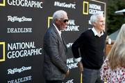 (L-R) Morgan Freeman and James Younger attend National Geographic's Contenders Showcase, at The Greek Theatre, a one-of-a-kind outdoor experience and concert celebrating the talent behind the scenes of National Geographic 2019 Emmy contenders on June 02, 2019 in Los Angeles, California.