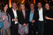"""(from third left) Actors Emily Watson, Geoffrey Rush, Jan Koeppen, President of Fox Networks Group, Europe and Africa and guests attend a reception for the London Premiere Screening for National Geographic's """"Genius"""" held at Quaglino's on March 30, 2017 in London, England."""