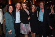 """Courteney Monroe, CEO National Geographic Global Networks, director and executive producer Ron Howard, actress Emily Watson, Carolyn Bernstein, EVP Head of Global Scripted Development and Production and actor Geoffrey Rush attend a reception for the London Premiere Screening for National Geographic's """"Genius"""" held at Quaglino's on March 30, 2017 in London, England."""