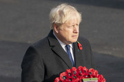 UK prime minister Boris Johnson attends the National Service Of Remembrance at the Cenotaph in Westminster, amid the spread of coronavirus (COVID-19) disease on November 8, 2020 in London, England. Remembrance Sunday services are still able to go ahead despite the covid-19 measures in place across the various nations of the UK. Each country has issued guidelines to ensure the safety of those taking part.