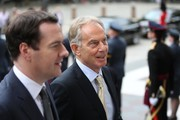 George Osborne and Tony Blair arrive for a service of thanksgiving for Queen Elizabeth II's 90th birthday at St Paul's cathedral on June 10, 2016 in London, United Kingdom.