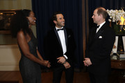 (L-R) Beverley Knight, James O'Keefe and Prince Edward, Earl of Wessex attend the National Youth Theatre Baroque And Roll Fundraising Gala 2020 at Spencer House on February 11, 2020 in London, England.