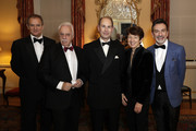 (L-R) Hugh Bonneville, David Pearl, Prince Edward, Earl of Wessex, Dawn Airey and Paul Roseby OBE attend the National Youth Theatre Baroque And Roll Fundraising Gala 2020 at Spencer House on February 11, 2020 in London, England.