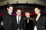 Matt Smith, Paul Roseby OBE, Dawn Airey, Chief Executive Officer of Getty Images, and Lily James attend the annual National Youth Theatre Fundraising evening at Cafe Royal on November 26, 2018 in London, England.