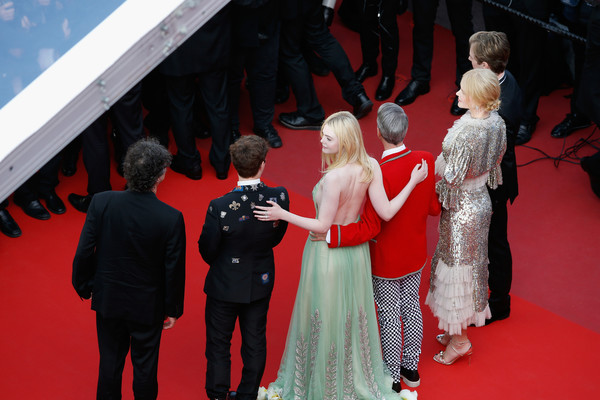 'The Meyerowitz Stories' Red Carpet Arrivals - The 70th Annual Cannes Film Festival [the meyerowitz stories,red carpet,carpet,red,premiere,flooring,event,fashion,dress,ceremony,gown,red carpet arrivals,cameron mitchell,elle fanning,nicole kidman,neil gaiman,alex sharp,l-r,screening,cannes film festival]