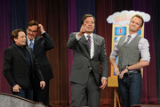 "Chris Kattan, Steve Higgins, Jimmy Fallon and Neil Patrick Harris visit ""Late Night With Jimmy Fallon"" at Rockefeller Center on July 27, 2011 in New York City."
