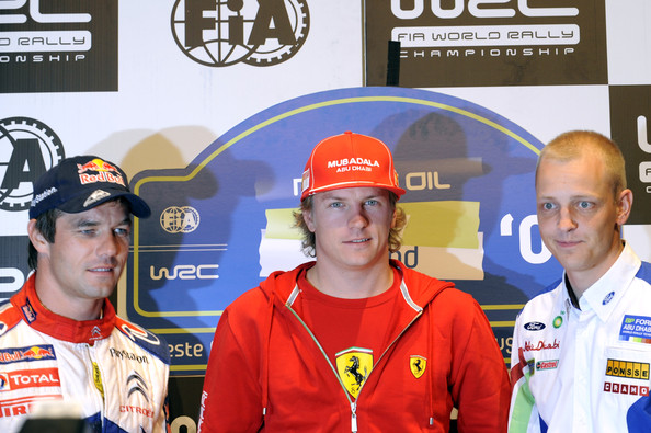 Sebastien Loeb of France, Kimi Raikkonen of Finland and Mikko Hirvonen of Finland pose after the Pre Event FIA Press Conference in Jyvaskyla, Finland