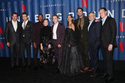 "(L-R) Scott Stuber, Ryan Reynolds, Corey Hawkins, Melanie Laurent, Ben Hardy, Adria Arjona, Manuel Garcia-Rulfo, Ted Sarandos and David Ellison attend Netflix's ""6 Underground"" New York Premiere at The Shed on December 10, 2019 in New York City."