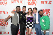"""(L-R) Blair Underwood, Kyle Harvey, Shelley Hennig, Harrison Holzer and Jordan Rock attend Netflix's """"The After Party"""" special screening on August 15, 2018 in Los Angeles, California."""