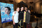 """(L-R) Keir Gilchrist, Brigette Lundy-Paine, and Nik Dodani attend Netflix """"Atypical"""" Season 3 special screening at Natural History Museum on October 28, 2019 in Los Angeles, California."""