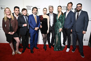 """(L-R) Amy Greene, Ara Keshishian, Haley Joel Osment, Director Joe Berlinger, Lily Collins, Zac Efron, Angela Sarafyan, Michael Werwie, and Michael Simkin attend Netflix's """"Extremely Wicked, Shockingly Evil and Vile"""" Tribeca Film Festival Premiere at BMCC Tribeca Performing Arts Center on May 02, 2019 in New York City."""