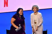 """Jenelle Riley and Jane Fonda speak onstage at the Netflix FYSEE """"Grace and Frankie"""" ATAS Official Red Carpet and Panel at Raleigh Studios on May 18, 2019 in Los Angeles, California."""