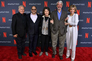 """Martin Sheen, Howard Morris, Lily Tomlin, Sam Waterston and Jane Fonda attend the Netflix FYSEE """"Grace and Frankie"""" ATAS Official Red Carpet and Panel at Raleigh Studios on May 18, 2019 in Los Angeles, California."""