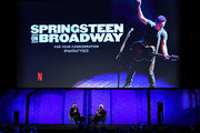 "Bruce Springsteen (L) and Martin Scorsese speak onstage at Netflix FYSEE Opening Night ""Springsteen On Broadway"" at Raleigh Studios on May 05, 2019 in Los Angeles, California."