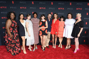 (L-R) Kia Stevens, Shakira Barrera, Alison Brie, Sydelle Noel, Jackie Tohn, Marc Maron, Britt Baron, Rebekka Johnson, Britney Young, and Kimmy Gatewood attend the Netflix FYSee Kick Off Party at Raleigh Studios on May 6, 2018 in Los Angeles, California.