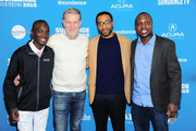 "(L-R) Maxwell Simba, CEO of Netflix Reed Hasting, Chiwetel Ejiofor, and William Kamkwamba attend the Netflix film ""The Boy Who Harnessed The Wind"" Sundance Film Festival Park City screening at The Ray Theatre on January 26, 2019 in Park City, Utah."