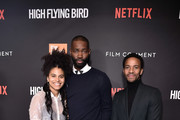 "(L-R) Zazie Beetz, Tarell Alvin McCraney, and André Holland attend the Netflix  ""High Flying Bird"" Film Comment Select Special Screening at Walter Reade Theater on February 07, 2019 in New York City."