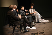 "(L-R) Nicolas Rapold, Tarell Alvin McCraney, André Holland, and Zazie Beetz speak during the Netflix ""High Flying Bird"" Film Comment Select Special Screening at Walter Reade Theater on February 07, 2019 in New York City."