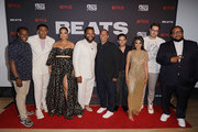 """Brian Dobbins, Khalil Everage, Ashley Jackson, Anthony Anderson, Bob Teitel, guest, Megan Sousa, Miles Orion Feldsott and Chris Robinson attend the """"BEATS"""" World Premiere at The American Black Film Festival on June 13, 2019 in Miami, Florida."""