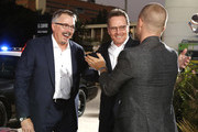 """(L-R) Vince Gilligan, Bryan Cranston and Aaron Paul attend the World Premiere of  """"El Camino: A Breaking Bad Movie"""" at the Regency Village on October 07, 2019 in Los Angeles, California."""