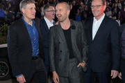 """(L-R) Jeff Frost, Vince Gilligan, Aaron Paul and Bryan Cranston attend the World Premiere of  """"El Camino: A Breaking Bad Movie"""" at the Regency Village on October 07, 2019 in Los Angeles, California."""