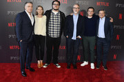 "Holt McCallany, Anna Torv, Cameron Britton David Fincher, Jonathan Groff, Ted Sarandos attend Netflix's ""Mindhunter"" FYC Event at Netflix FYSEE At Raleigh Studios on June 1, 2018 in Los Angeles, California."