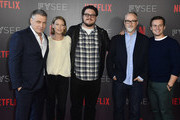 "Holt McCallany, Anna Torv, Cameron Britton David Fincher, Jonathan Groff attend Netflix's ""Mindhunter"" FYC Event at Netflix FYSEE At Raleigh Studios on June 1, 2018 in Los Angeles, California."
