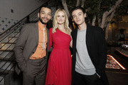 """(L-R) Justice Smith, Virginia Gardner, and Felix Mallard attend the Netflix Premiere of """"All the Bright Places"""" on February 24, 2020 in Hollywood, California."""