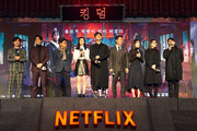 Kim Seong-gyu, Jeon Seok-ho, Kim Sang-ho, Bae Doona, Ju Ji-hoon, Ryu Seung-yong, Kim Hye-jun and Writer Kim Eun-hee, Director Kim Seong-hun(left to right) attends the Netflix 'Kingdom' premiere on January 21, 2019 in Seoul, South Korea.