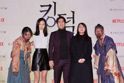 Bae Doona, Jeon Seok-ho and Writer Kim Eun-hee(from second left to right) attend the Netflix 'Kingdom' premiere on January 21, 2019 in Seoul, South Korea.