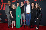 Timothy Olyphant, Jane Wiseman, Drew Barrymore, Sklyer Gisondo, Victor Fresco, Tracy Katsky and Brittney Segal attend Netflix's 'Santa Clarita Diet' Season 3 Premiere at Hollywood Post 43 on March 28, 2019 in Los Angeles, California.