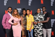 Jharrel Jerome, Niecy Nash,  Marsha Stephanie Blake, Asante Blackk, Aunjanue Ellis and Ethan Herisse attend Netflix's 'When They See Us' Screening & Reception at Paramount Theater on the Paramount Studios lot on August 11, 2019 in Hollywood, California.