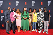 Kris Bowers, Jharrel Jerome, Niecy Nash,  Ava DuVernay, Marsha Stephanie Blake, Asante Blackk, Aunjanue Ellis and Ethan Herisse attend Netflix's 'When They See Us' Screening & Reception at Paramount Theater on the Paramount Studios lot on August 11, 2019 in Hollywood, California.