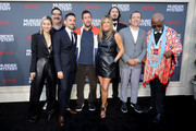 "(L-R) Shiori Kutsuna, Erik Griffin, Luis Gerardo Mendez, Adam Sandler, Jennifer Aniston, Kyle Newacheck, Dany Boon and Dr. John Kani attend the Netflix World Premiere Of ""Murder Mystery"" at Village Theatre Westwood on June 10, 2019 in Los Angeles, California."