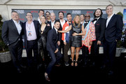 "(L-R) Netflix Chief Content Officer  Ted Sarandos, Allen Covert, Netflix VP Original Film Scott Stuber, Shiori Kutsuna, Erik Griffin, Tripp Vinson, Luis Gerardo Mendez, James Vanderbilt,  Adam Sandler, Jennifer Aniston, Dany Boon, Dr. John Kani, Kyle Newacheck and James P. Stern attend the Netflix World Premiere Of ""Murder Mystery"" at Village Theatre Westwood on June 10, 2019 in Los Angeles, California."